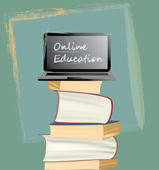 Online Education. Books and laptop