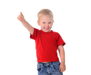 portrait of fashionable little boy in red t-shirt
