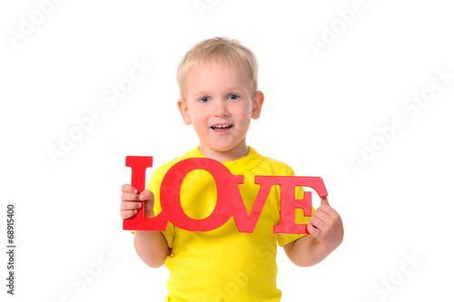 canvas print picture portrait of little boy holding inscription