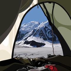 The view from the tent on the mountain