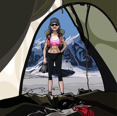 Female tourist with backpack .The view from the tent