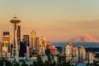 Sunset over Seattle and Mount Rainier - 68916022
