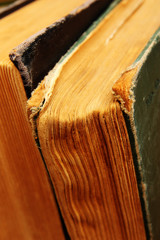Vintage books close up