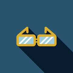 Glasses flat icon with long shadow