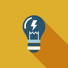 Light bulb flat icon with long shadow