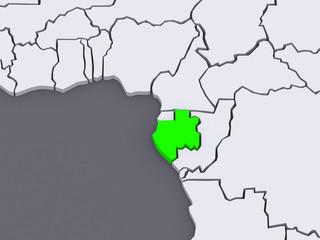 Map of worlds. Gabon.
