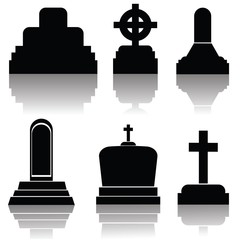 set of gravestone silhouettes