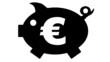 canvas print picture - button - piggy bank - Sparschwein - black - 16 to 9 - g1165