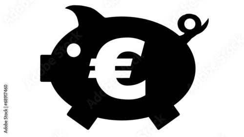 canvas print picture button - piggy bank - Sparschwein - black - 16 to 9 - g1165