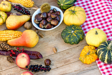 Autumn fruit and vegetable