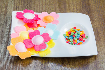 Multi colored candy flowers