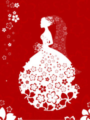 Bride silhouette, floral card in white and red colours