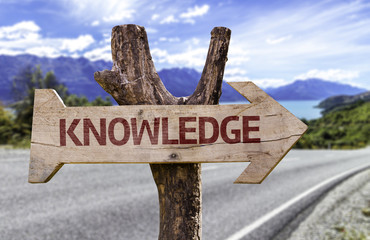 Knowledge wooden sign with a street background