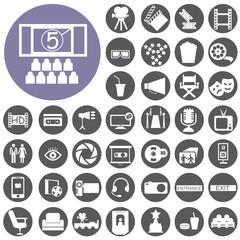 Cinema web silhouettes icon set. Illustration eps10