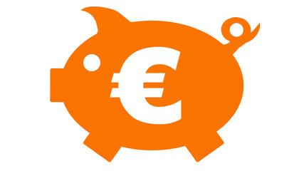 button - piggy bank - Sparschwein - orange - 16 to 9 - g1170