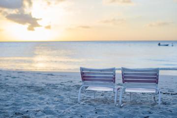 Two beach chair at caribbean resort
