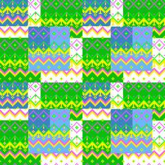 Patchwork seamless pixel geometric folk pattern texture