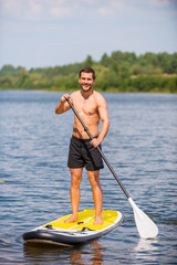 Man on paddleboard.