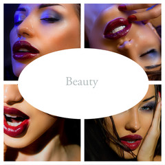 Makeup Collage. Beautiful young women with stylish bright make-u