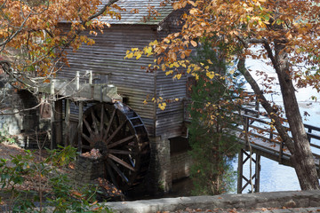 Grist mill and water wheel