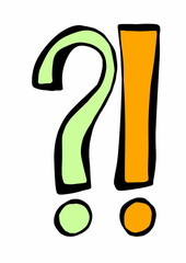 doodle question and exclamation mark