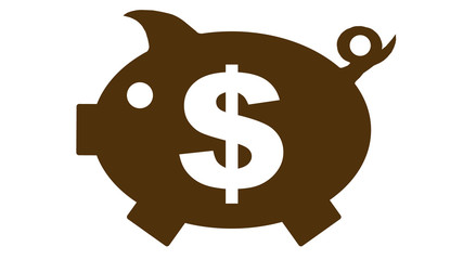 button - piggy bank in brown with dollar symbol - 16to9 - g1173