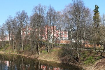 landscape: the old palace on the bank of the lake