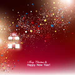 Beautiful Christmas gift with red bow and place for text. Vector