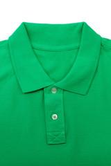 Green polo shirt close-up collar.