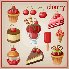 Set of sweets with cherry. vector illustration