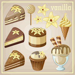 Set of sweets vanilla. vector illustration