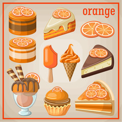 Set of sweets with an orange. vector illustration