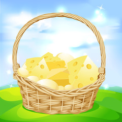 vector basket with cheese on green meadow