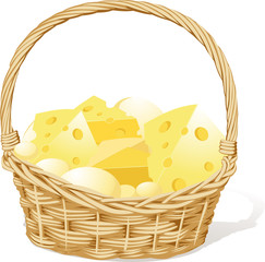 vector basket fool of cheese isolated on white background