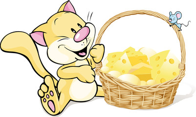 cat and mouse with basket full of cheese