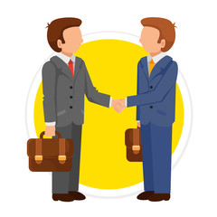 Vector Handshake Man Flat Round Icon