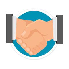 Vector Handshake Flat Round Icon