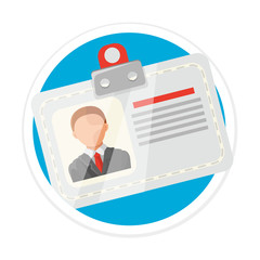 Vector Identification Card Flat Round Icon