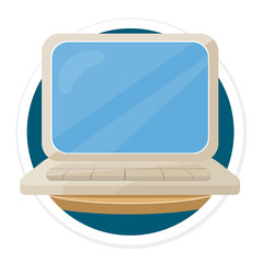 Vector Laptop Flat Round Icon
