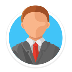 Vector Man Avatar Flat Round Icon
