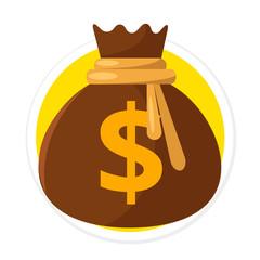 Vector Money Bag Flat Round Icon