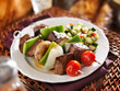 steak and vegetable shishkabobs with cucumber salad
