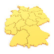 canvas print picture - 3D map of germany in yellow