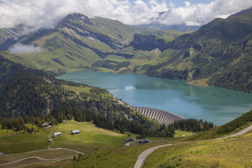 barrage and storage reservoir of lac de roselend in france