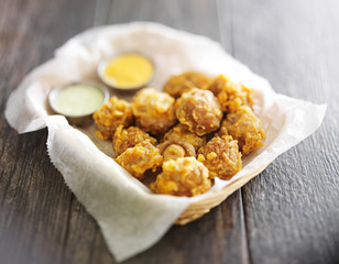 beer battered mushrooms with chipotle and jalapeno mayo