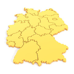 3D map of germany in yellow
