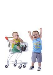 Tweeling in de winkelkar