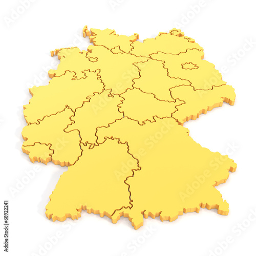 canvas print picture 3D map of germany in yellow