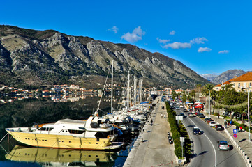 Kotor Harbor view with Boats
