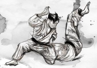 Judo - an full sized hand drawn illustration